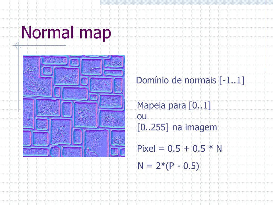 Normal map Domínio de normais [-1..1] Mapeia para [0..1] ou